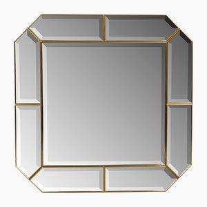 Angeschrägter italienischer Spiegel mit Messingrahmen, 1960er