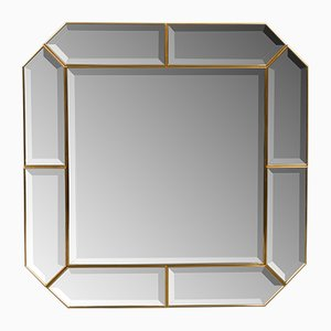 Italian Brass Beveled Mirror, 1960s