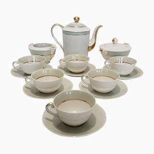 Limoges Porcelain Coffee Service Set from Albert Vignaud, 1950s