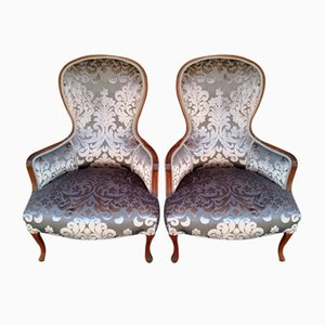 Antique Art Nouveau Armchairs, Set of 2
