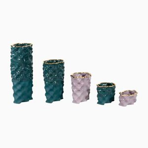 Dark Green, Mauve & Gold Ø Wave Set by Mari JJ Design