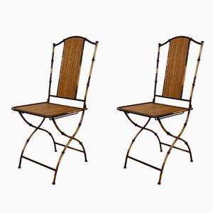 Antike Jugendstil Gartenstühle aus Bambus, 2er Set
