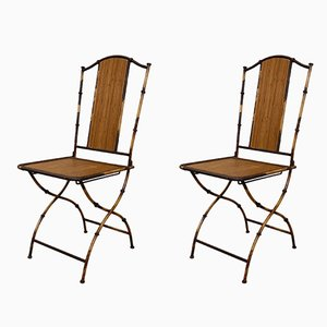 Antique Art Nouveau Bamboo Garden Chairs, Set of 2