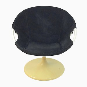 Suede Swivel Ballon Chair from Lusch & Co., 1972