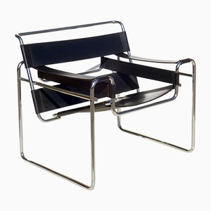 Bauhaus Black Leather Wassily Chair by Marcel Breuer for Gavina, 1960s