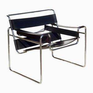 Silla Wassily Bauhaus de cuero negro de Marcel Breuer para Gavina, años 60