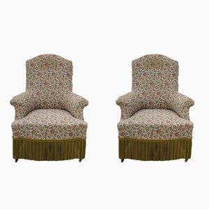 Antike Napoleon III Sessel aus Nussholz, 2er Set
