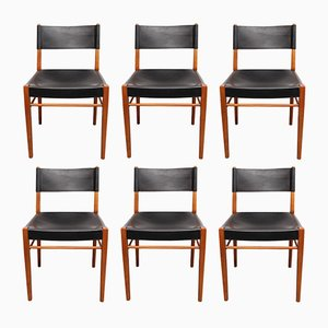 Cherry Wood & Leather Dining Chairs, 1960s, Set of 6
