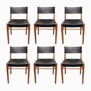 Esszimmerstühle aus Kirschholz & Leder, 1960er, 6er Set