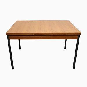 Mesa de comedor extensible de teca y metal, años 60