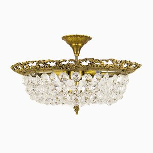Mid-Century Crystal Glass and Bronze Ceiling Lamp