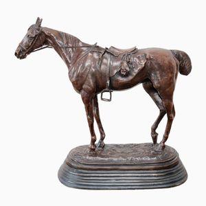 Escultura The Tired Hunter antigua de bronce de John Willis Good del siglo XIX