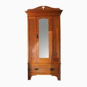 Edwardianischer Kleiderschrank aus Satinholz mit Spiegel