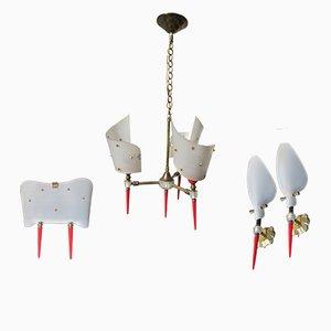 Lampadario e 3 lampade da parete, anni '60