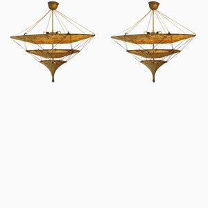 Metal & Fabric Pendants, 1970s, Set of 2