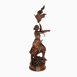 Antike Bronzeskulptur der Johanna von Orleans von Adrien Étienne Gaudez