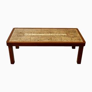 Tavolino da caffè vintage in legno e ceramica di Jean D'Asti