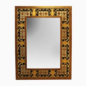 Espejo vintage grande con marco de madera y resina lacado