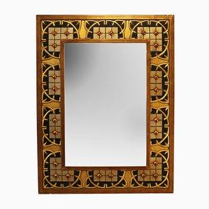 Großer Vintage Spiegel mit Rahmen aus Holz, Harz & Lack
