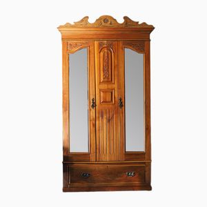 Antique Edwardian Satinwood Wardrobe with Mirror