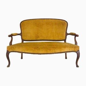 Chippendale Sitzbank aus Samt & Holz, 1950er