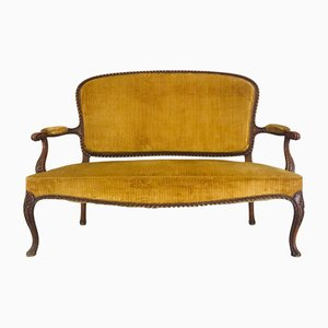 Chippendale Velvet & Wood Bench, 1950s