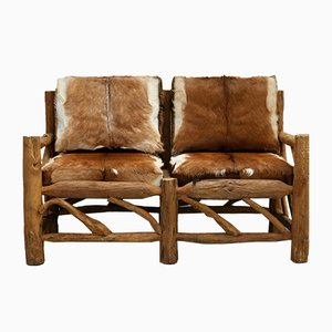 Wood & Cowhide Sofa, 1970s