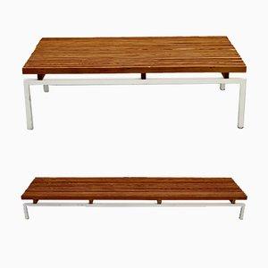 Weiß lackierte Bänke aus Stahl & Holz, 1980er, 2er Set