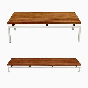White Lacquered Steel & Wood Benches, 1980s, Set of 2