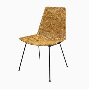 Vintage Beistellstuhl aus Korbgeflecht, 1960er