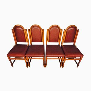Vintage Wood & Leatherette Dining Chairs, 1950s, Set of 4
