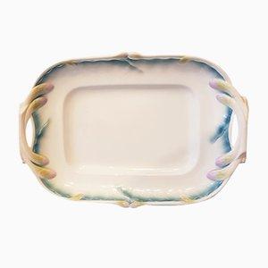 Vintage Platte aus Majolika mit Spargel von Sarreguemines