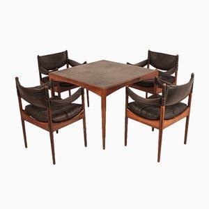 Mesa de juegos y cuatro sillas Mid-Century de Kristian Vedel para Søren Wiladsen