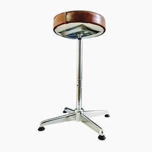 Industrial Chromed Steel & Leather Stool, 1980s