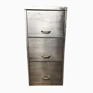 Vintage Industrial Stripped Metal 3 Drawer Filing Cabinet