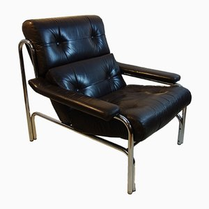 Mid-Century Leather & Chrome Chair by Tim Bates for Pieff, 1970s