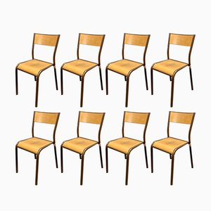 Vintage French Stacking Chairs, Set of 8