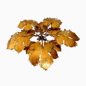 Lampada da soffitto o da parete grande Golden Leaf, anni '60