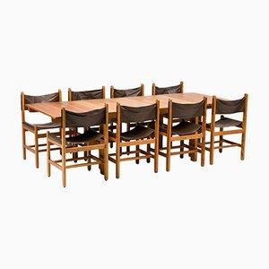 Set da pranzo in pino e pelle di Erik Wørts per Eilersen Furniture, anni '70