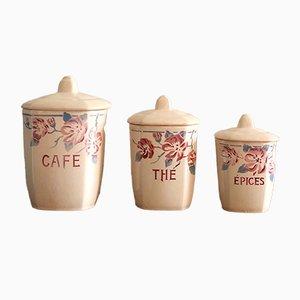 Recipientes Art Déco de porcelana de Mat Digoin, años 30. Juego de 3