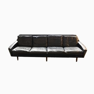 Sofá de palisandro y cuero de Hans Olsen, años 60