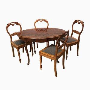 Tisch aus Nussholz & 4 Stühle, 19. Jh.