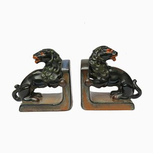 Fermalibri Art Deco a forma di leone in ceramica di Carstens Georgenthal, anni '20, set di 2