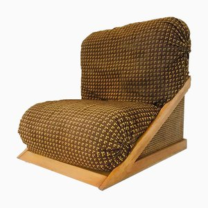 Vintage Wood & Velvet Lounge Chair, 1960s