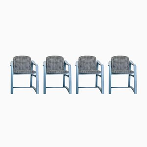 Italian Wood & Houndstooth Fabric Chairs, 1960s, Set of 4