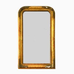 Espejo Louis Philippe antiguo grande de madera, estuco dorado y vidrio de mercurio
