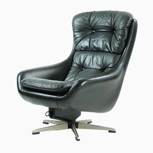 Finnish Black Leather Swivel Chair from PeeM, 1960s