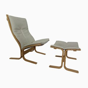 Siesta Lounge Chair with Ottoman by Ingmar Relling for Westnofa, 1970s