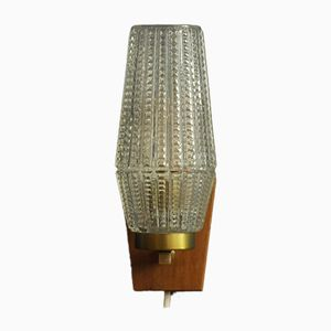 Teak & Glass Sconce from Orrefors, 1960s