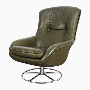 Vintage Leather Swivel Armchair, 1970s